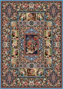 فرش ماشینی 700 شانه تراکم 2550-طرح باغ ارم فیروزه ای